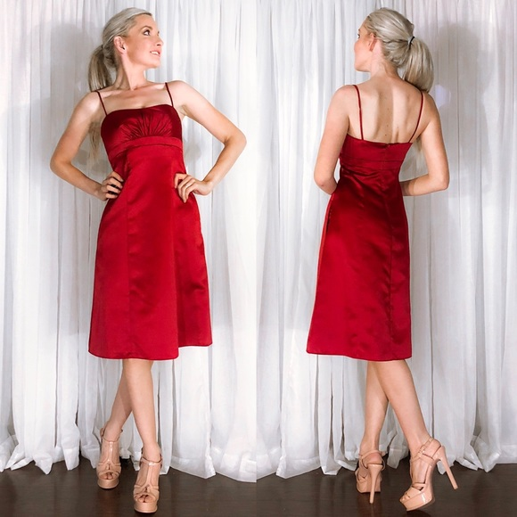 0ed0df854c David Bridal Red Apple Satin Midi Bridesmaid Dress. Boutique. David s Bridal